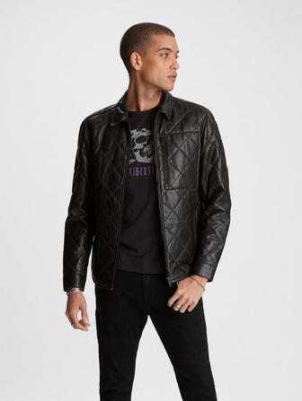REX QUILTED LEATHER OVERSHIRT