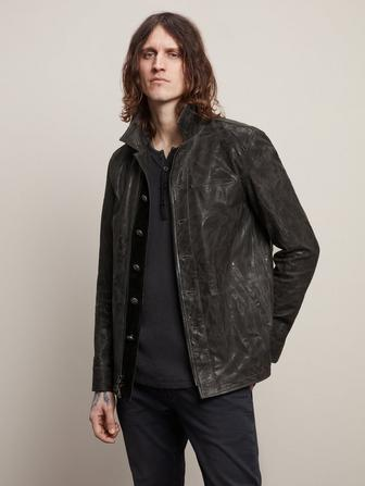 ZIP/BUTTON LEATHER JACKET WITH RIVETS