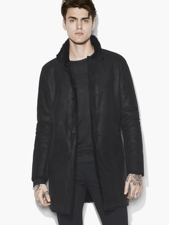 STAND COLLAR SHEARLING COAT