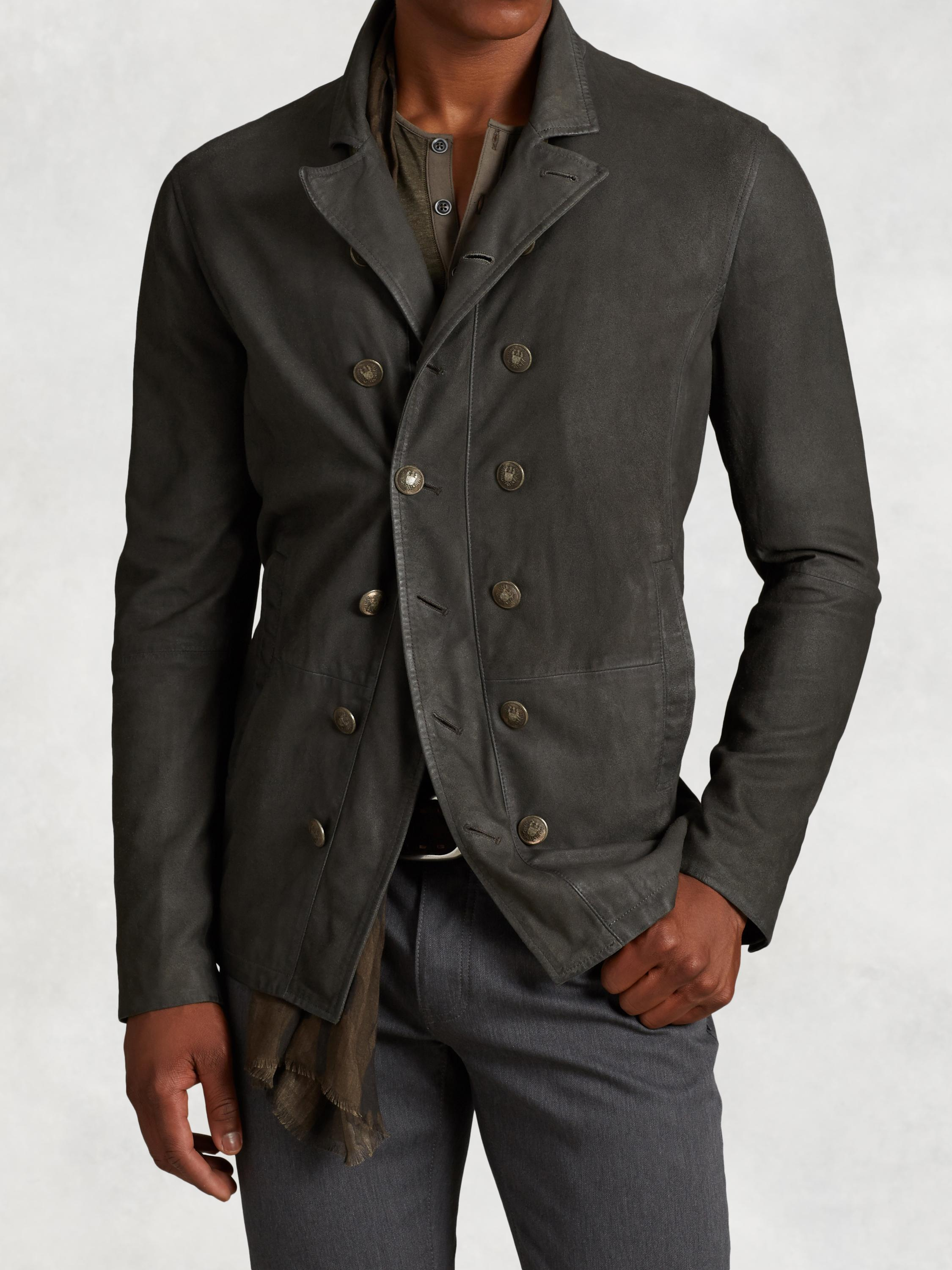Double Breasted Suede Cutaway Jacket