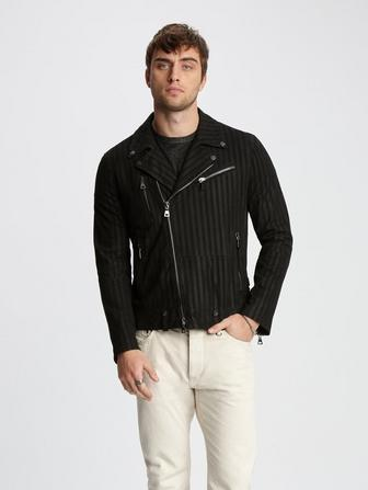 STRIPED LEATHER BIKER JACKET
