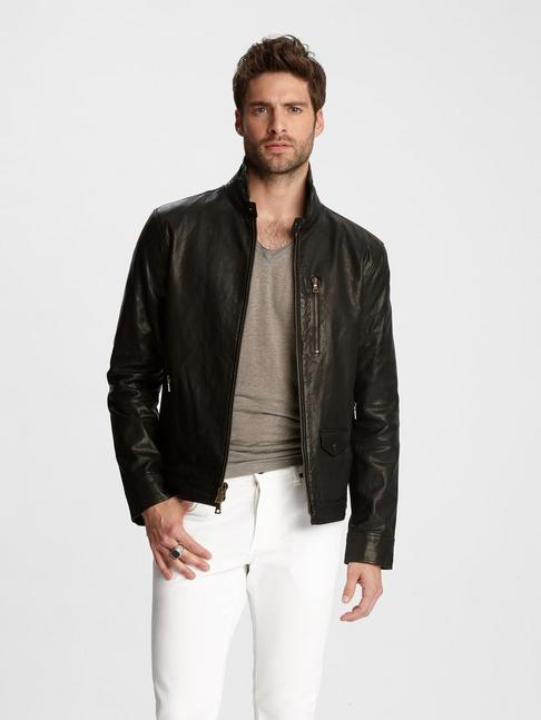 Wire Collar Leather Jacket