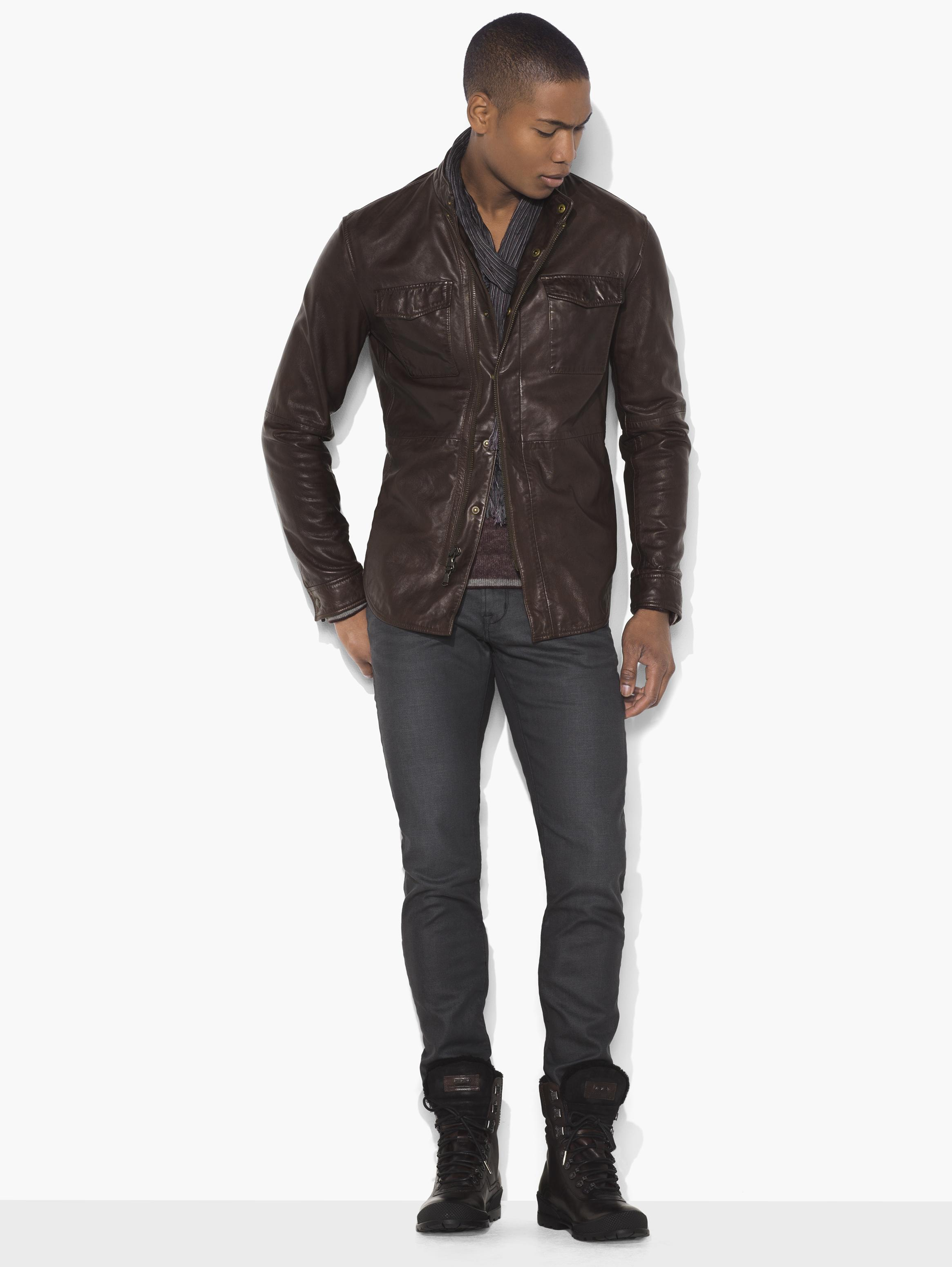 Leather Shirt Jacket