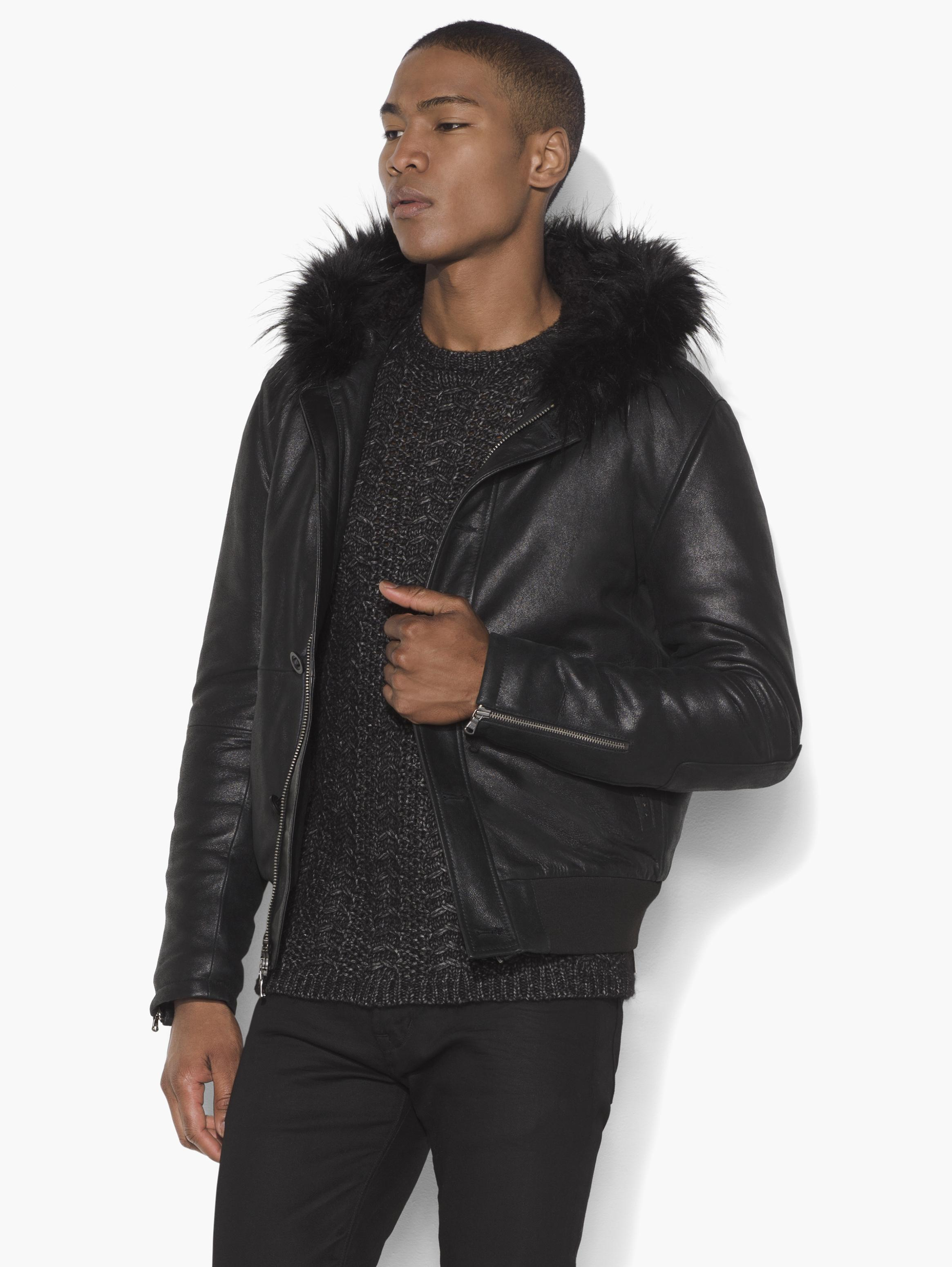 Leather Hooded Bomber