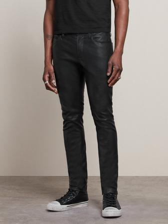 WIGHT SKINNY STRAIGHT FIT LEATHER JEAN WITH ZIPPER