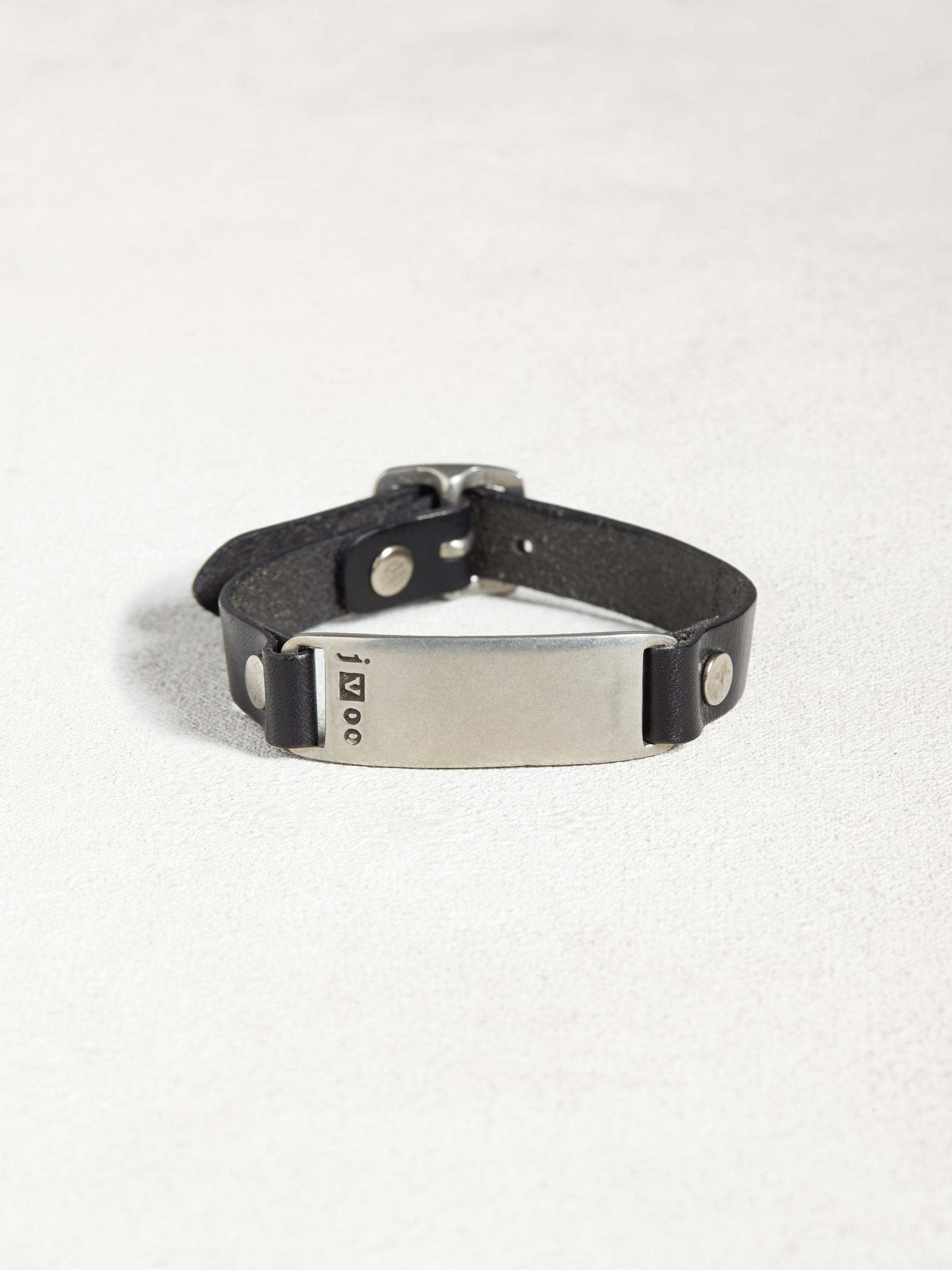 Leather & Pewter ID Plate Bracelet