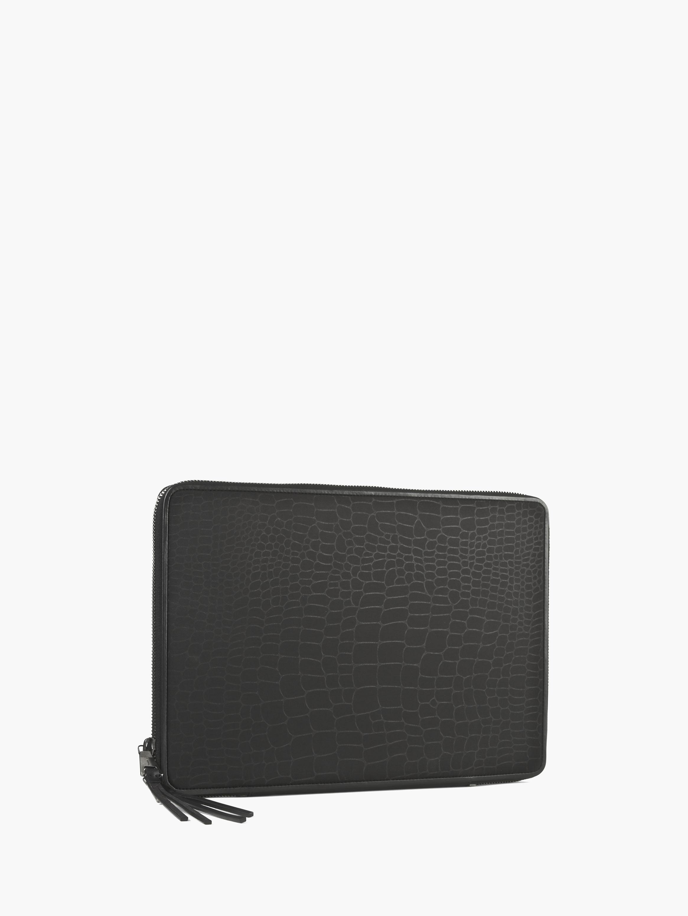 Croc-Embossed Laptop Case