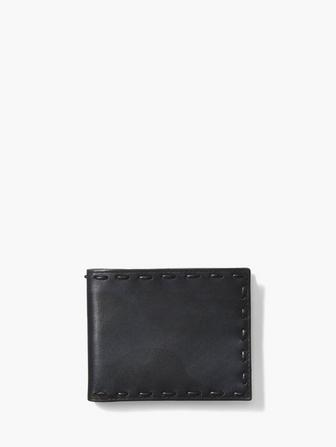 MARBLE STAINED LEATHER PICK STITCH BIFOLD WALLET