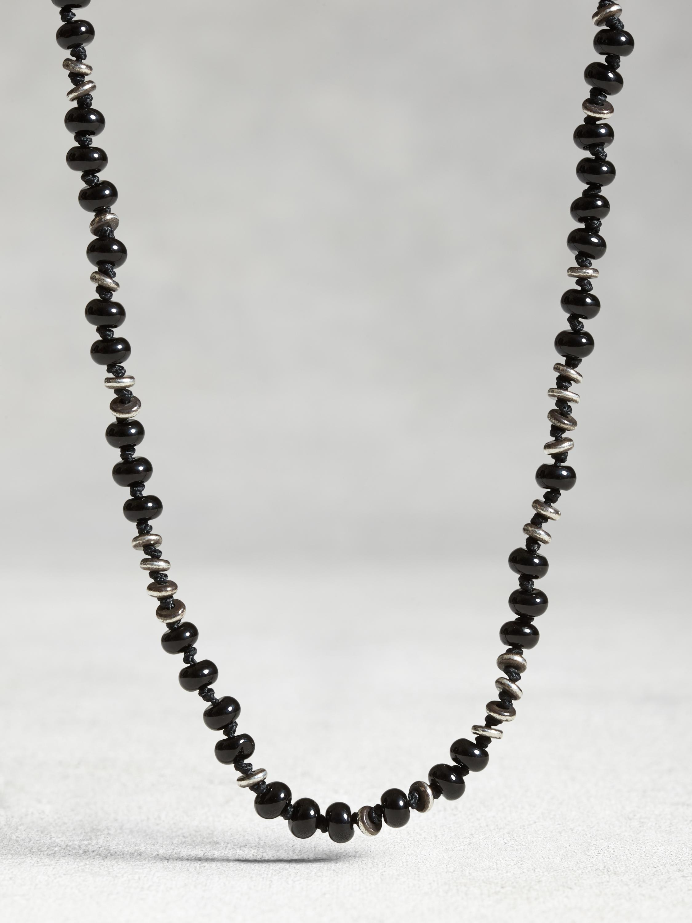 Onyx and Sterling Silver Knot Necklace