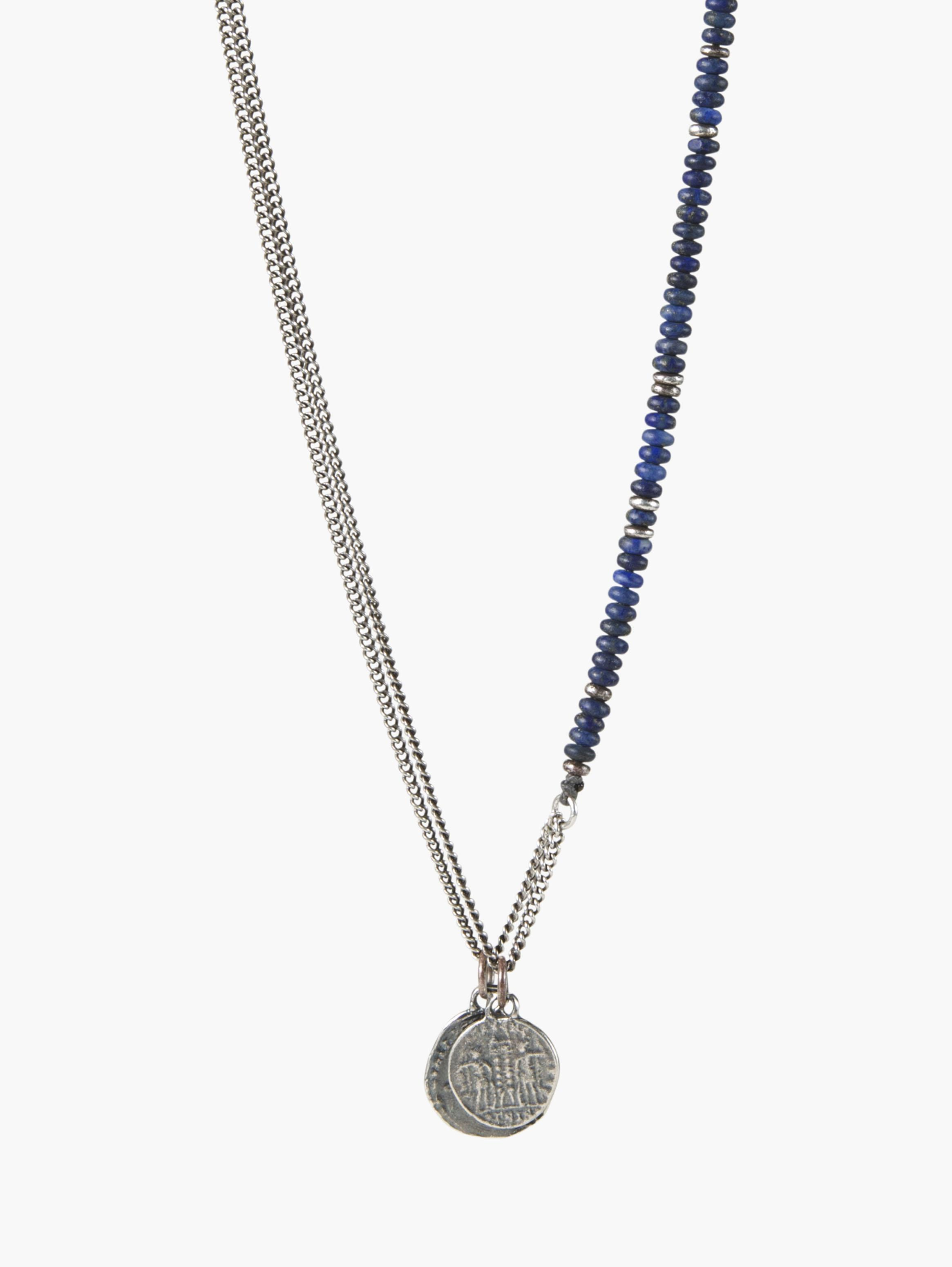 Knotted Gemstone Silver Greek Coin Necklace