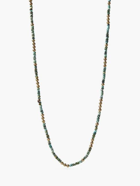 BEADED TURQUOISE & BRASS NECKLACE