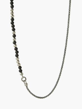 Silver Half Bead & Chain Necklace