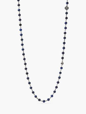 BEADED STONE & SILVER NECKLACE