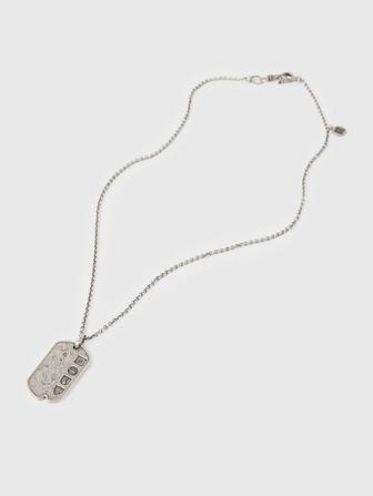 Silver Distressed Dog Tag