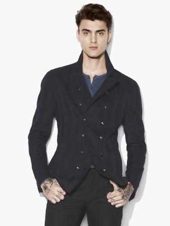 Jacquard Striped Double Breasted Jacket