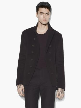 DOUBLE-BREASTED CUT AWAY JACKET