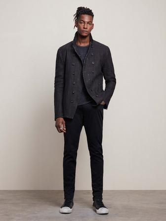 SLIM FIT DOUBLE BREASTED CUT AWAY JACKET