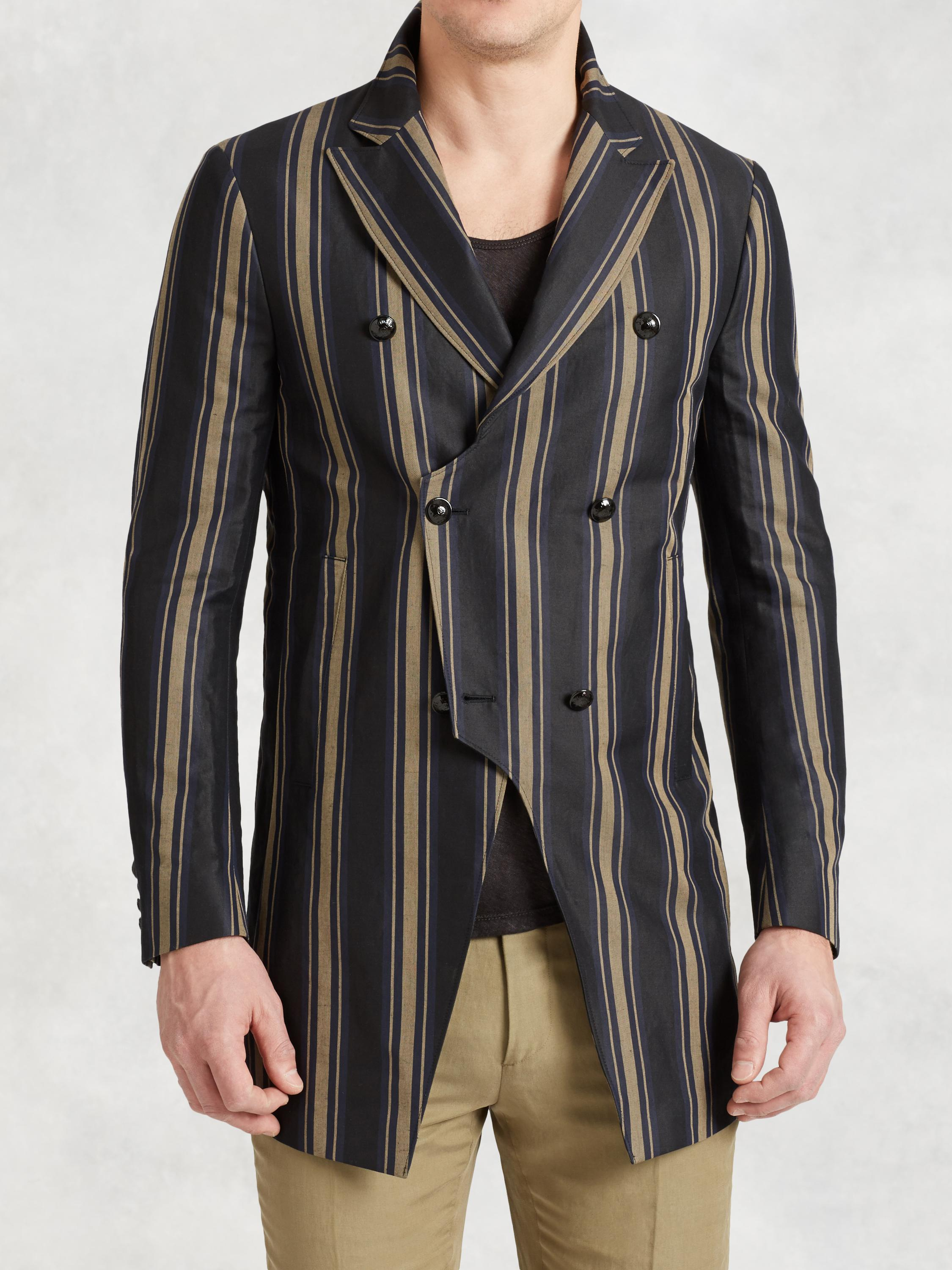 Double Breasted 3/4 Length Coat In Bold Stripes