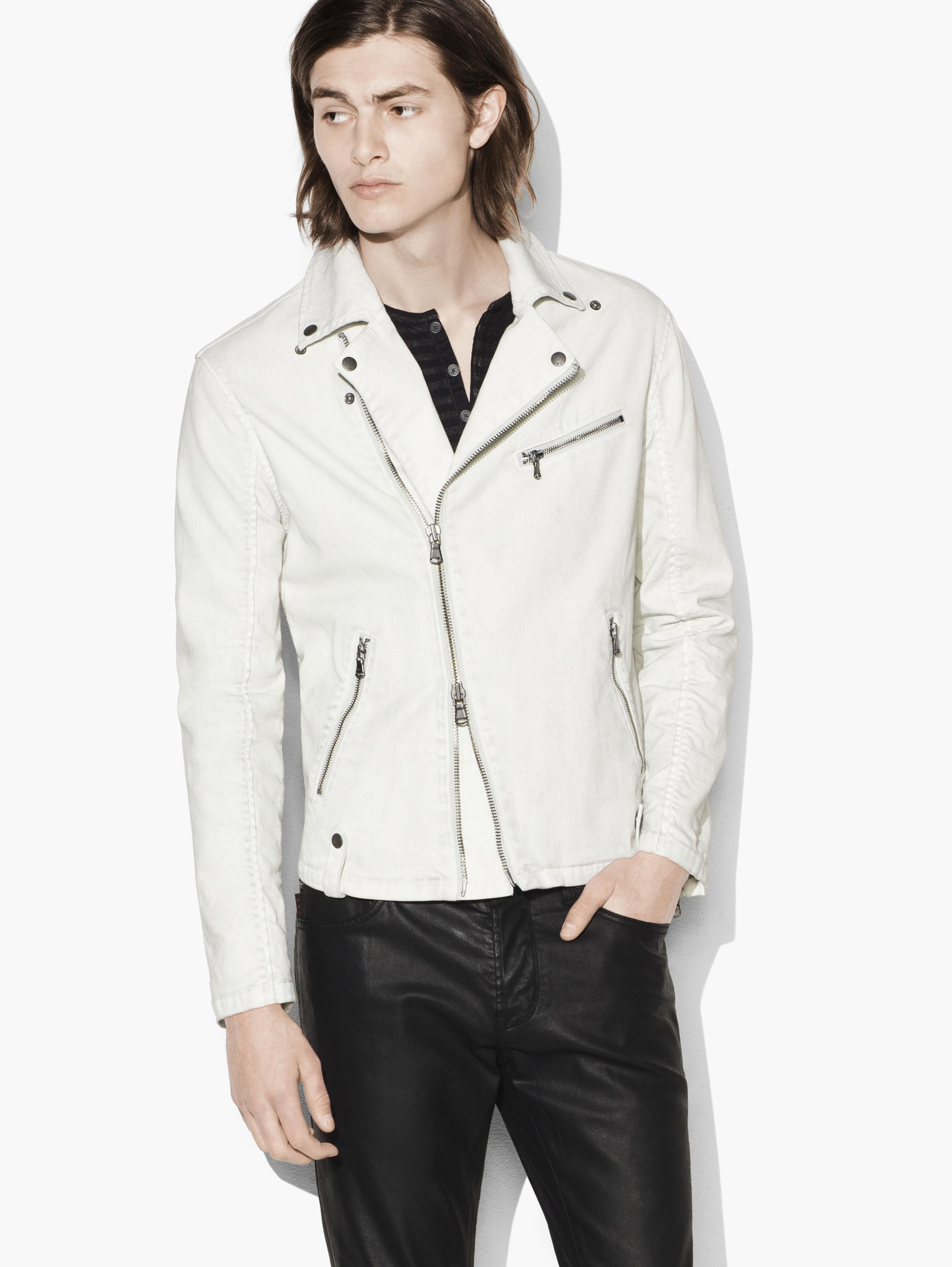 COATED MOTO JACKET WITH ASYMMETRICAL ZIP CLOSURE