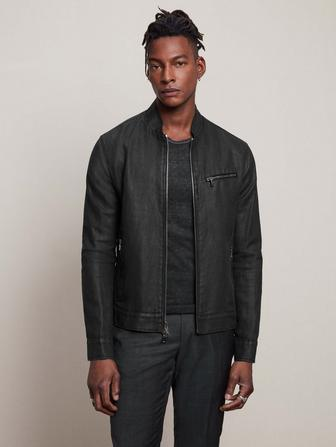 ZIP CLOSURE RACER JACKET WITH MULTI ZIP POCKETS