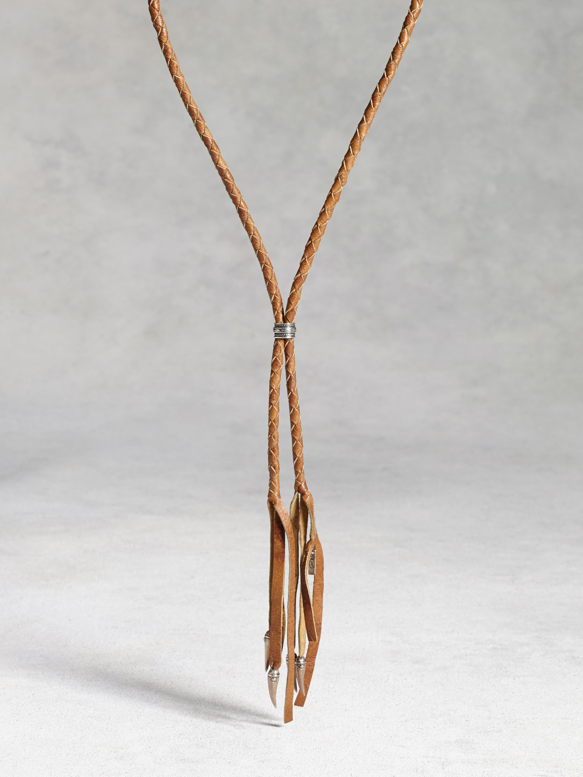 Woven Leather Bolo Necklace with Silver Tips