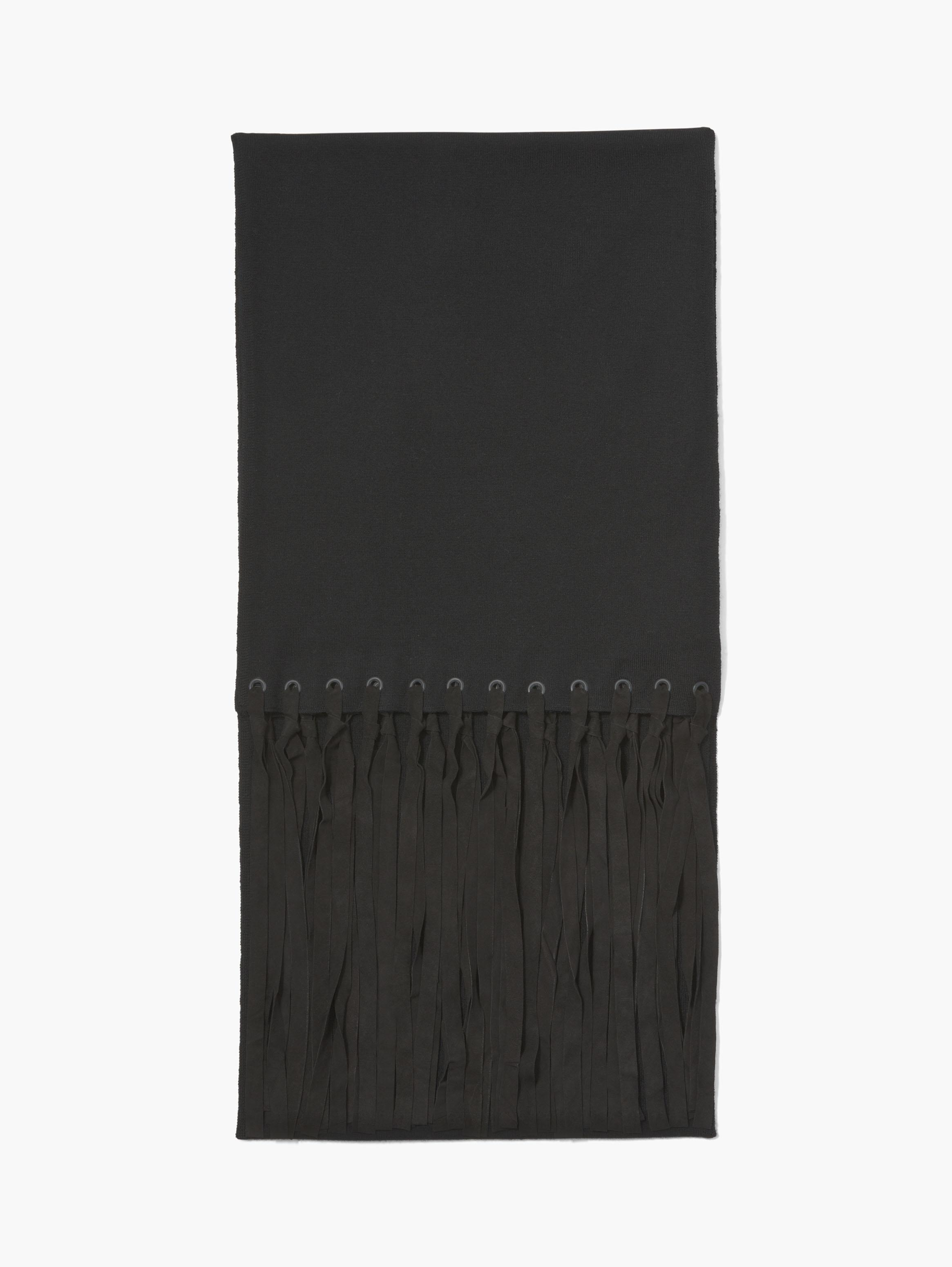 Merino Wool Scarf with Suede Fringe