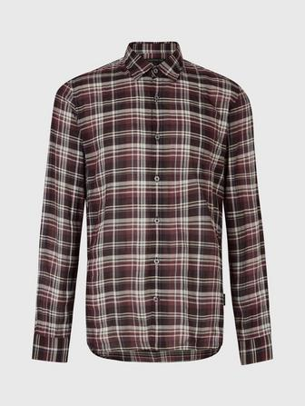 MAYFIELD SLIM FIT POINT COLLAR - PLAID