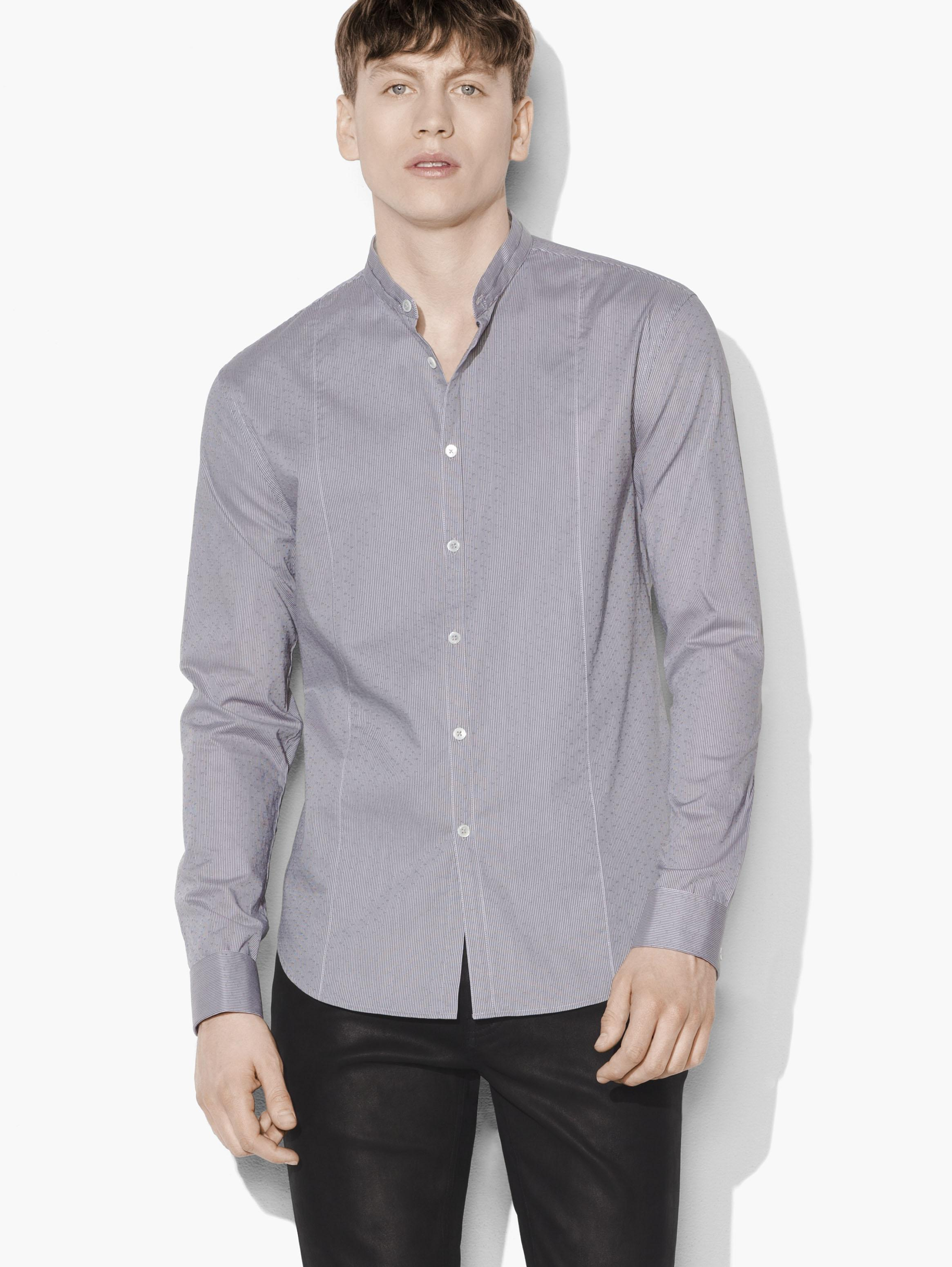 Dobby Striped Banded Collar Shirt