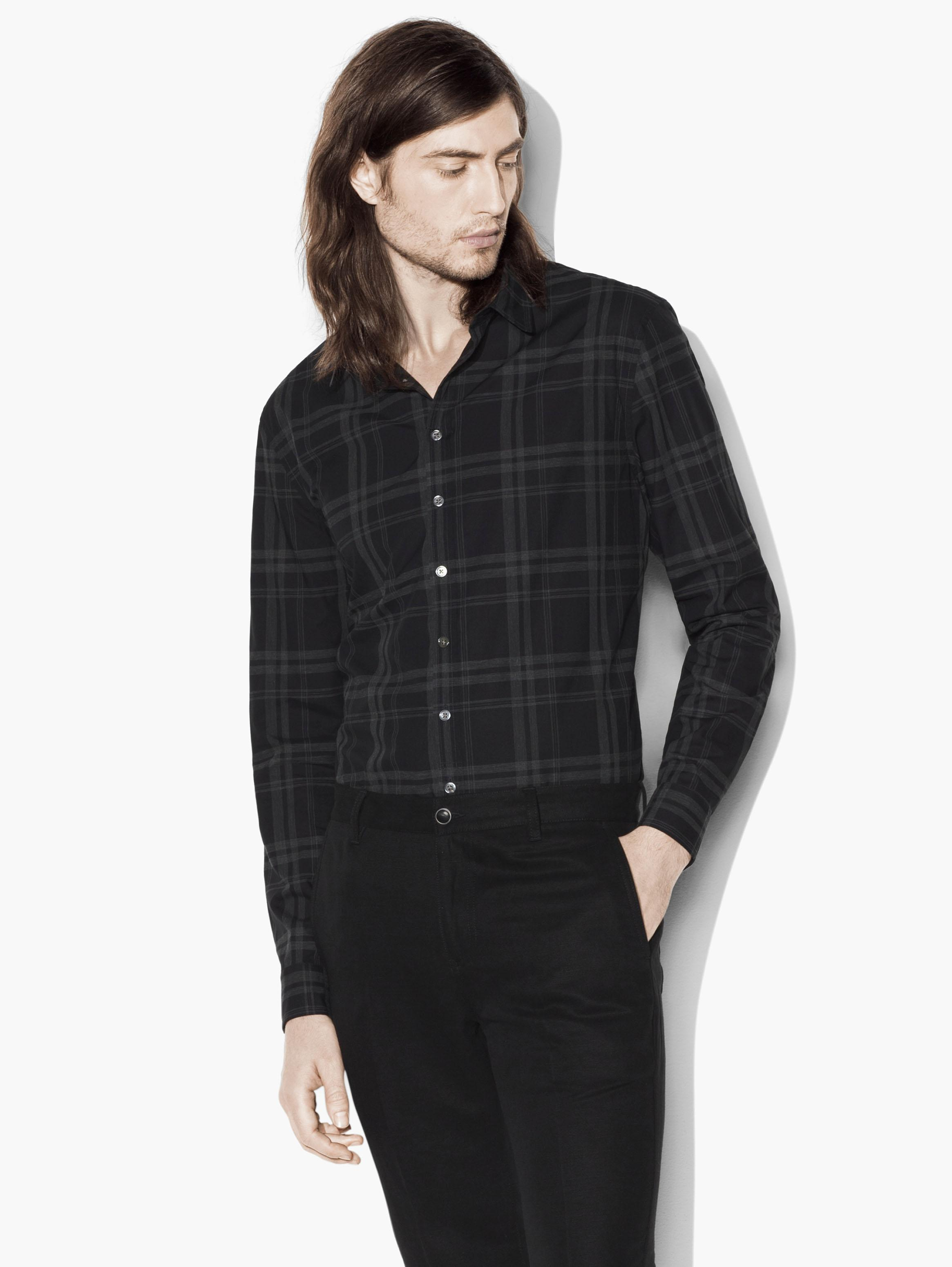 Heathered Plaid Sport Shirt