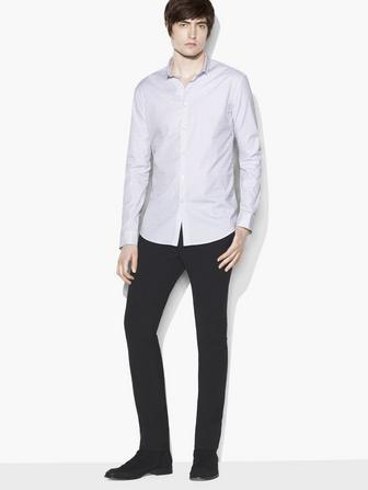 MICRO STRIPE STAND COLLAR SHIRT