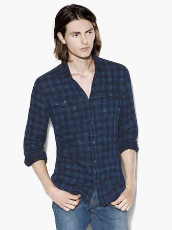ROLL-UP SLEEVE PLAID SHIRT