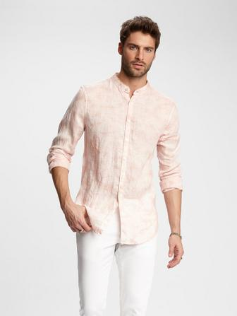 SLIM FIT BAND COLLAR SHIRT