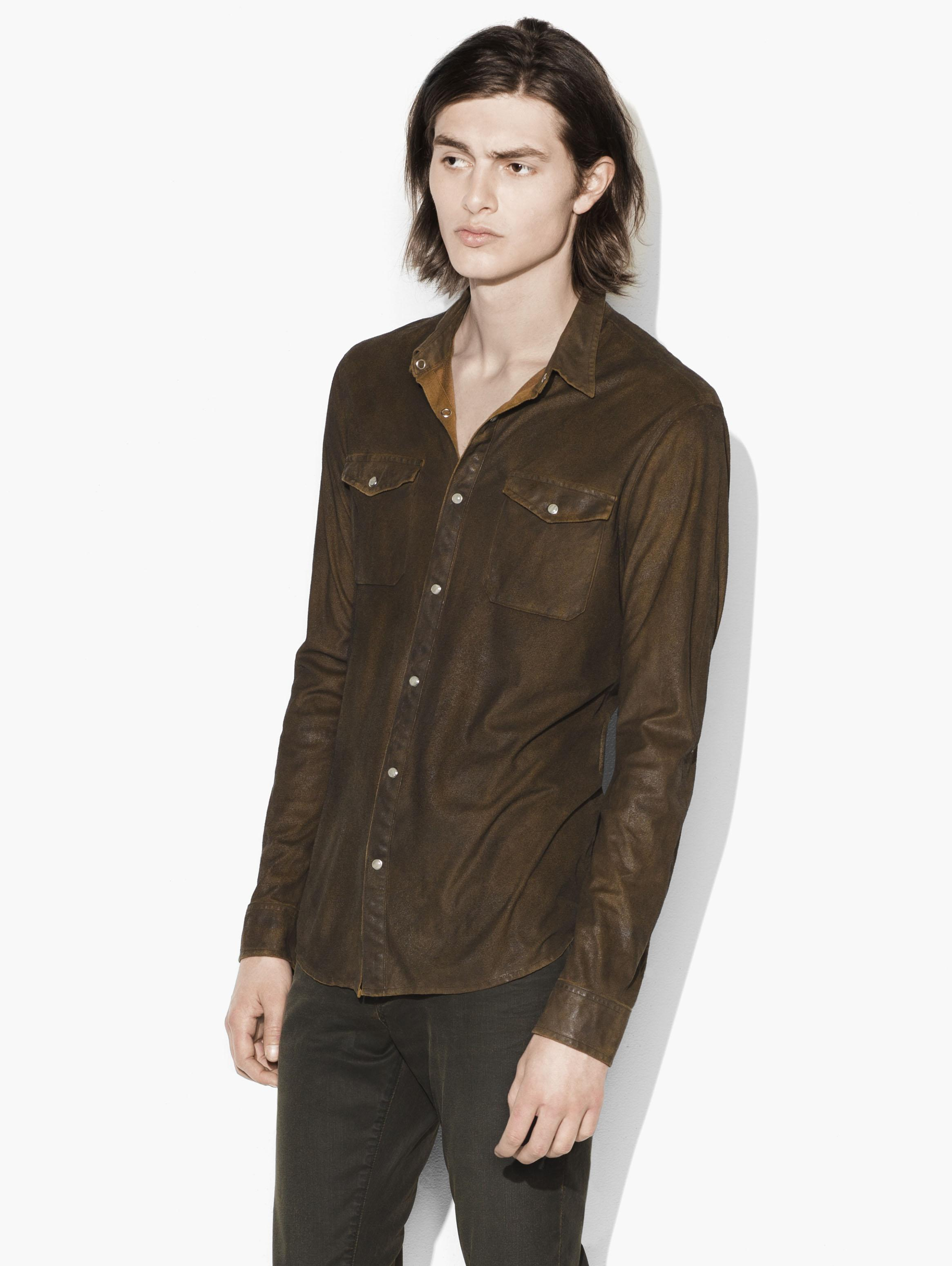 Faux Suede Military Shirt