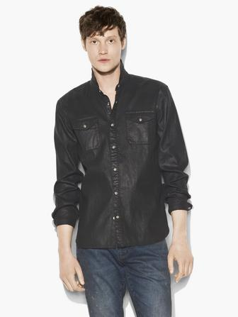 COATED COTTON WESTERN SHIRT
