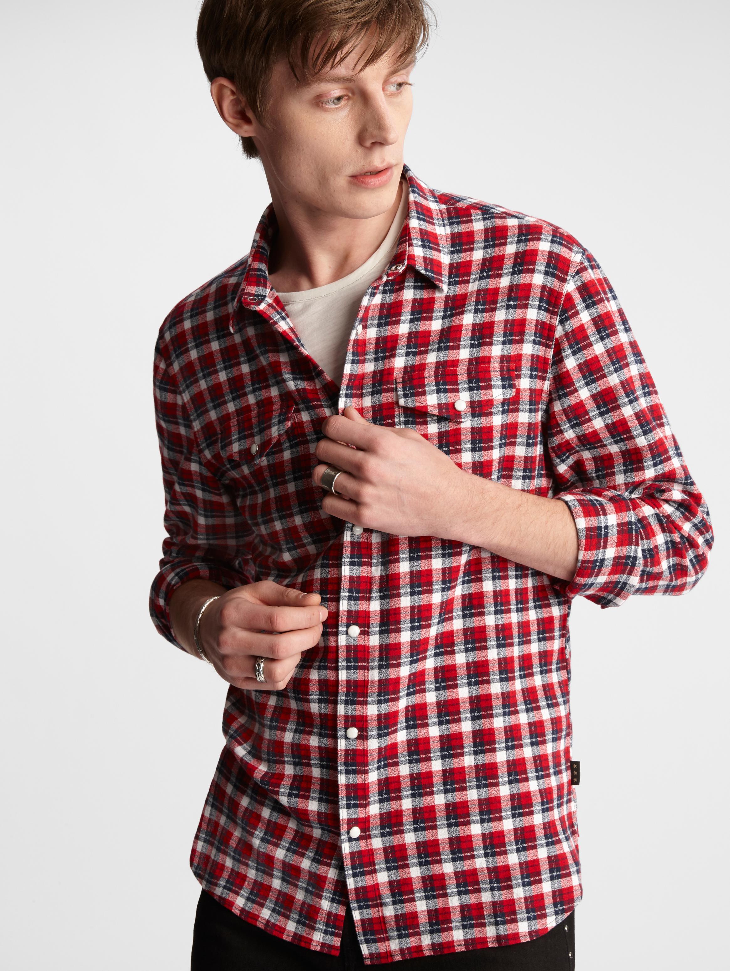 John Varvatos Star USA Men/'s Long Sleeve Button Front Striped Shirt Blue Stone M