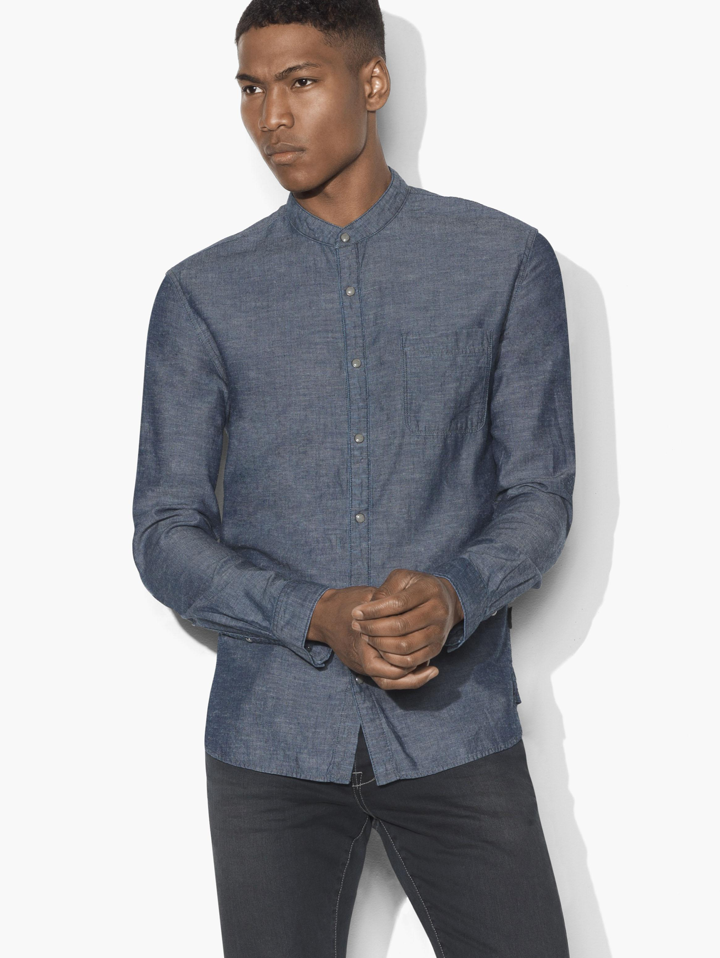 Chambray Banded Collar Shirt