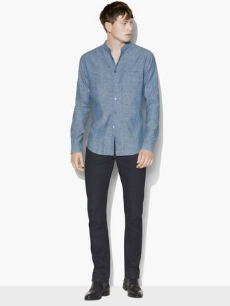 CHAMBRAY BAND COLLAR SHIRT