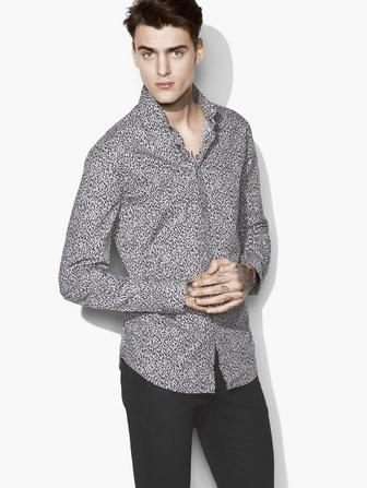 WIRE-COLLAR PRINTED SHIRT