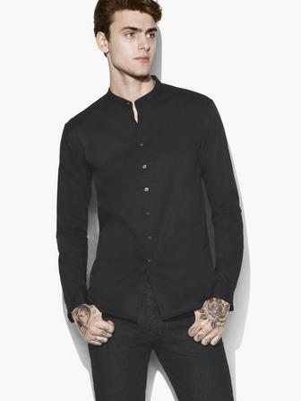 SOLID BAND COLLAR SHIRT