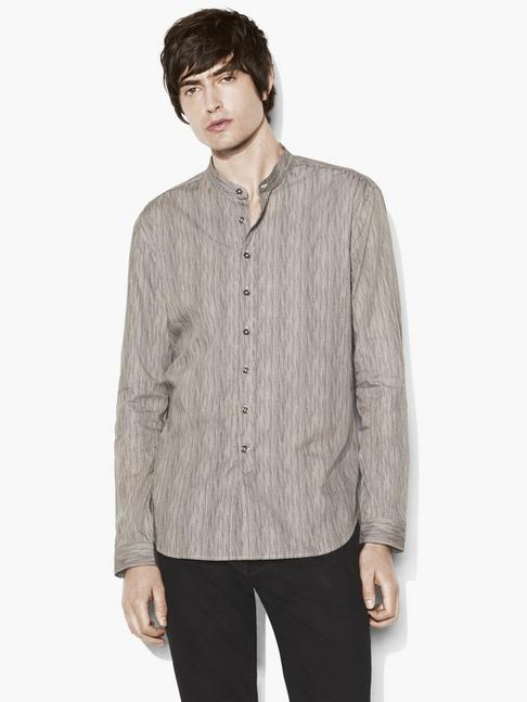 Band Collar Stitched Edge Shirt