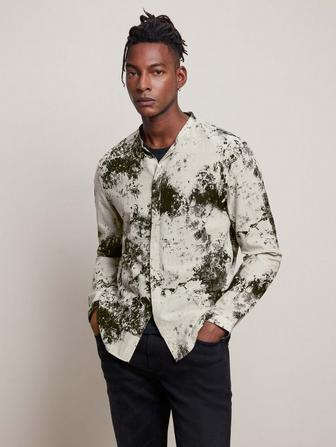 BAND COLLAR SHIRT WITH STRAIGHT HEMS