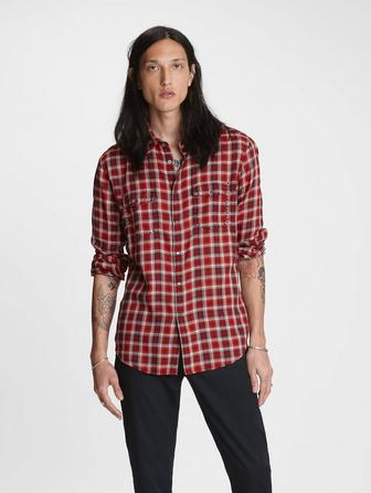 STUDDED PLAID SHIRT