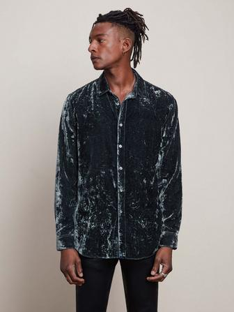 VELVET SHIRT WITH PIPING