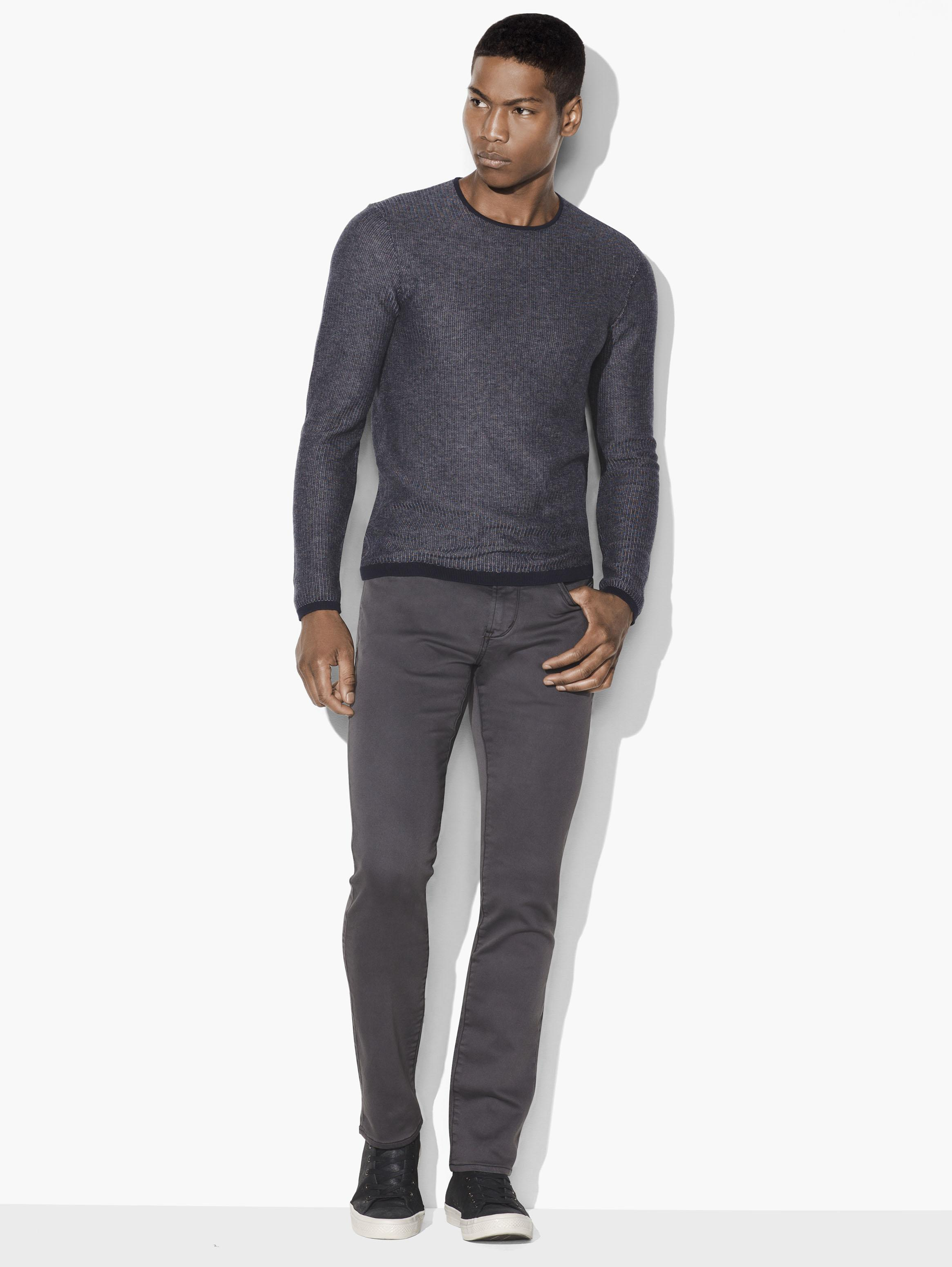 LONG SLEEVED CREW NECK WITH VERTICAL STRIPE JACQUA