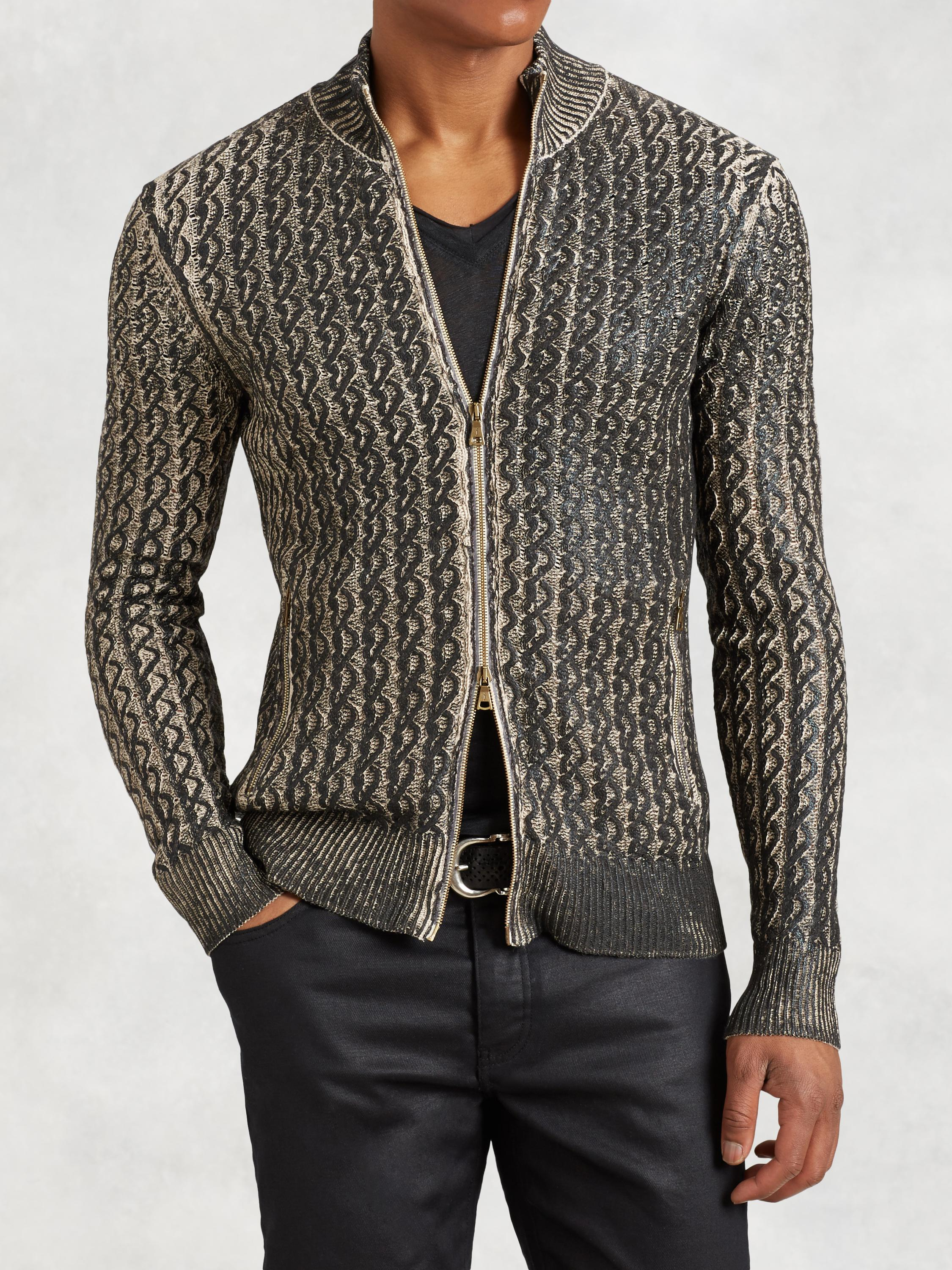 Foil Cable Knit Sweater