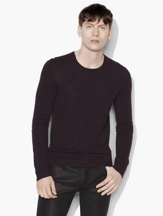 LONG SLEEVE CREWNECK WITH CONTRAST LINKING & SUEDE