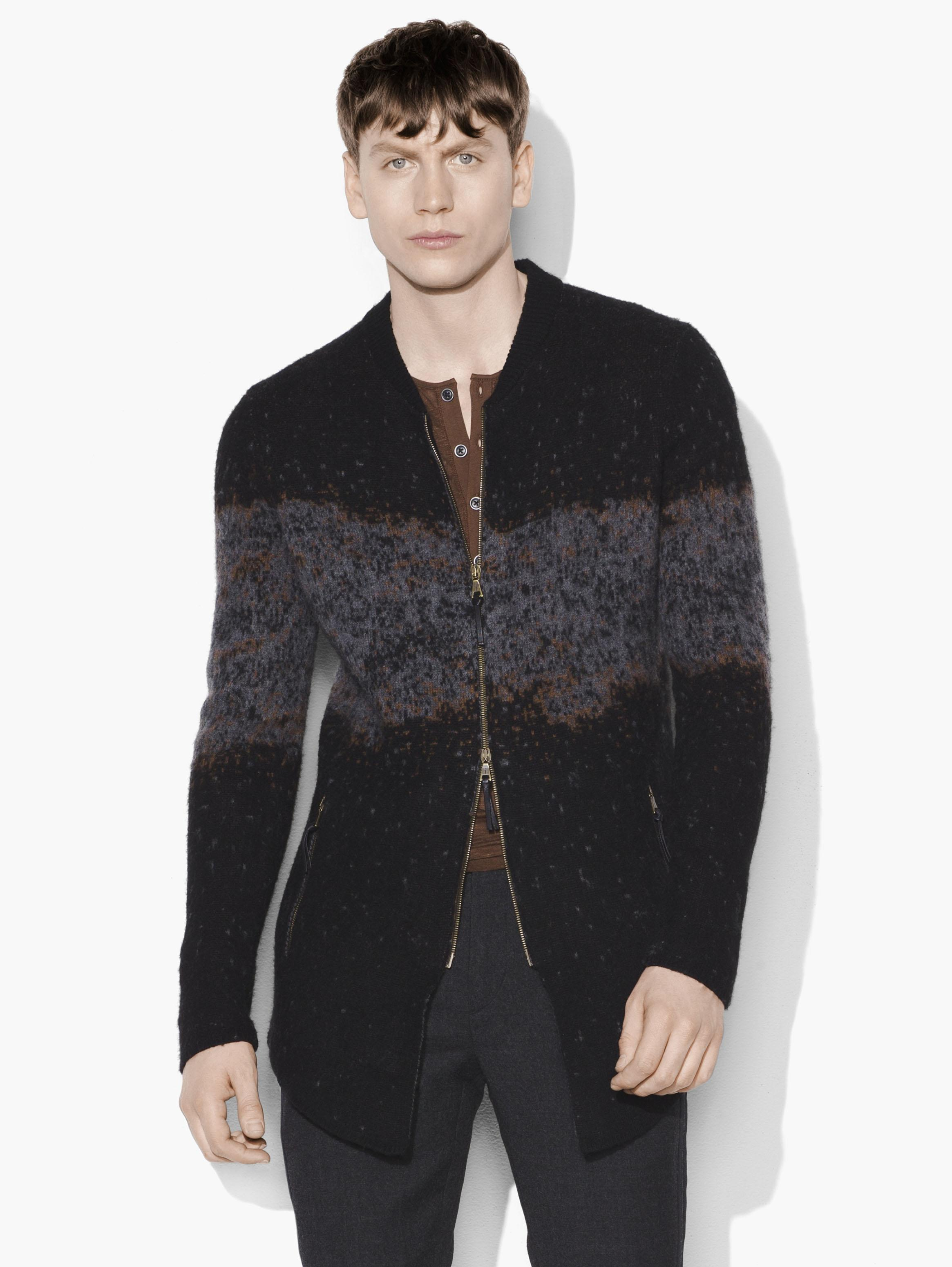 Distorted Jacquard Zipped Sweater