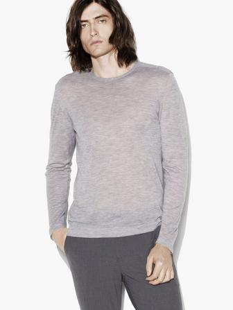 LONG SLEEVE CREW WITH SHOULDER DETAIL