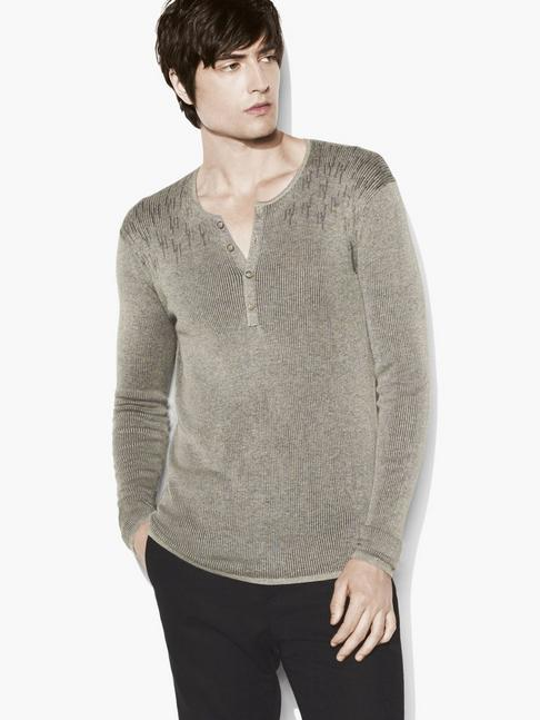 Stagger Stitch Heathered Henley