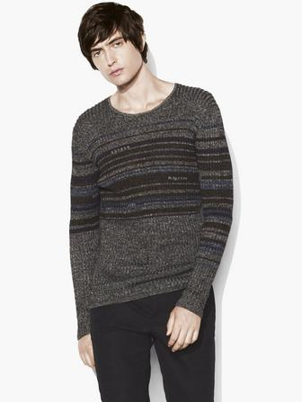 Interrupted Stripe Crew Neck Sweater